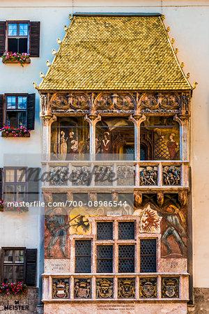 Historical landmark of the Golden Roof (Goldenes Dachl) in the Old Town of Innsbruck, Austria