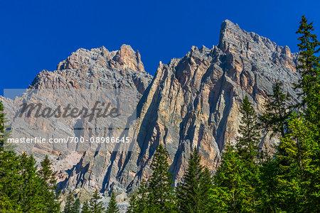 Close-up mountain tops of the Dolomites near Cortina d'Ampezzo, Italy
