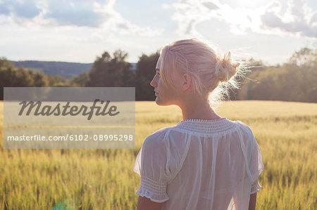 Teenage girl looking away