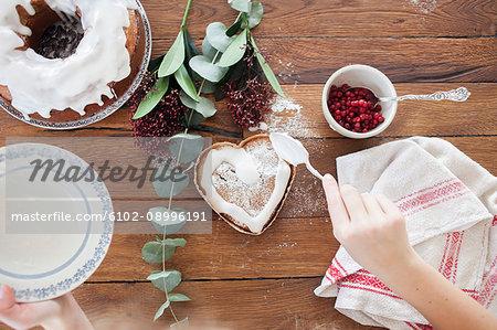 Girl making a cake
