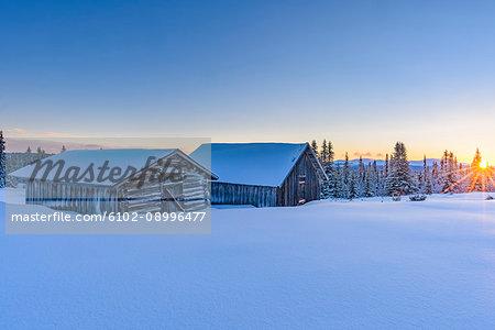 Wooden barn in winter landscape