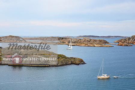 Sea coastline and boats