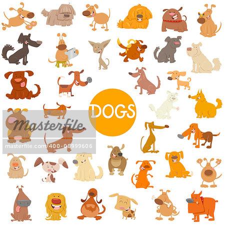 Cartoon Illustration of Funny Dogs Pet Animal Characters Big Set