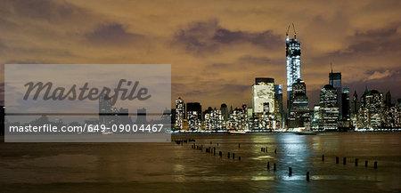 Skyline of Manhattan, power outage after Hurricane Sandy, New York City, USA