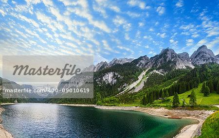 Beautiful summer Alpine lake Gosausee sunset view (Austria). Two shots stitch panorama.