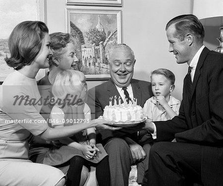 1960s  FAMILY BIRTHDAY PARTY CAKE 3 GENERATIONS