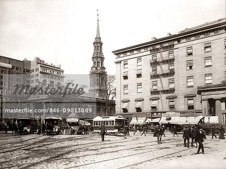 1800s 1890s 1900s NYC HORSE DRAWN STREET CAR TROLLEYS AT SAINT PAUL'S CHAPEL BUILT IN 1766 NEW YORK CITY USA
