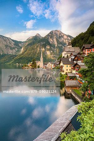 The austrian village of Hallstatt and the lake, Upper Austria, region of Salzkammergut, Austria