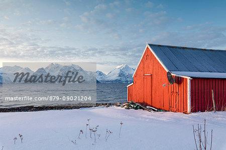 Blue sky on the wooden huts called Rorbu framed by frozen sea and snowy peaks Djupvik Lyngen Alps Tromsø Norway Europe