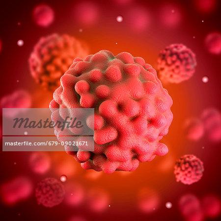 Rectal cancer cell, illustration.
