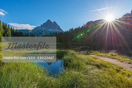 Tre Cime di Lavaredo and Lago Antorno with morning sun at Misurina in the Gruppo dei Cadini in Veneto, Italy