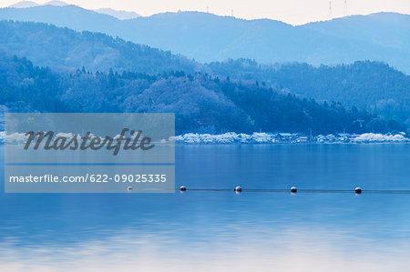 Long exposure of Lake Biwa at sunset, Shiga Prefecture, Japan