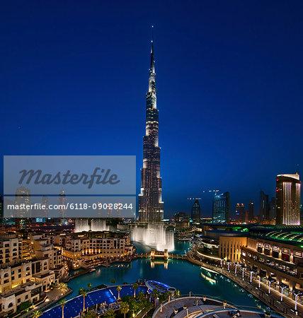 View of illuminated Burj Khalifa skyscraper at dusk, Dubai, United Arab Emirates.