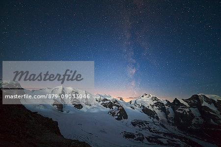 Bernina Group, Rhaetian Alps, Switzerland. Milky Way on Bernina, from Diavolezza refuge.