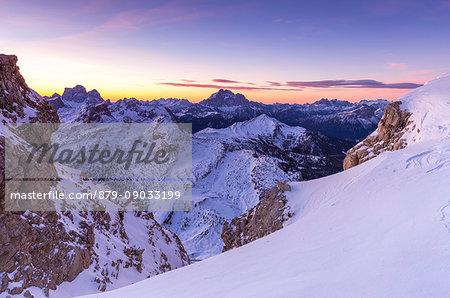 Winter sunrise from Mount Lagazuoi,Cortina d'Ampezzo,Belluno district,Veneto,Italy,Europe