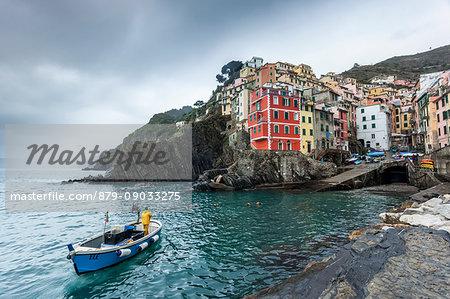 Fishing boat in Riomaggiore, Cinque Terre, Riviera di Levante, Liguria, Italy