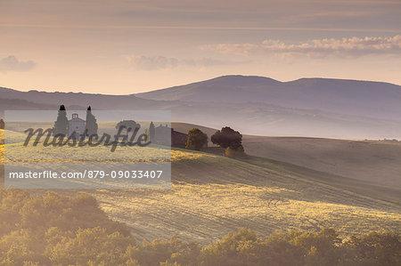 Vitaleta chapel, Pienza, Orcia valley, Tuscany, Italy. Sunrise.