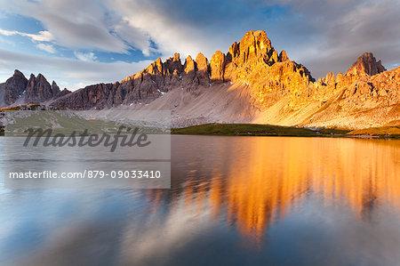 Paterno peak in Sexten Dolomites, Trentino Alto Adige, Italy. Piani lakes at sunrise