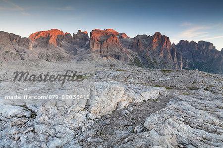 Plateau of Pale of San Martino, San Martino di Castrozza, Trento province, Dolomites, Trentino Alto Adige, Italy, Europe. Plateau at sunrise