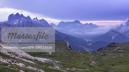Europe, Italy, Veneto, Belluno. Landscape toward Misurina and the mountains around from the path near Auronzo hut at Tre Cime di Lavaredo