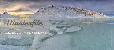 Mosaic of ice at Lake Bianco. Bernina Pass. Canton of Graubunden. Engadine. Switzerland. Europe
