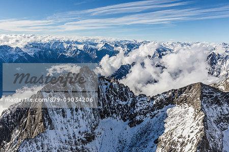 Aerial view of the snow covered Sasso Manduino Val Dei Ratti Chiavenna Valley Valtellina Lombardy Italy Europe