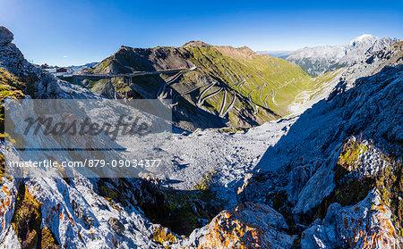 Panorama of rocky peaks and hairpin turns at Stelvio Pass Valtellina Lombardy Trentino Alto Adige Italy Europe