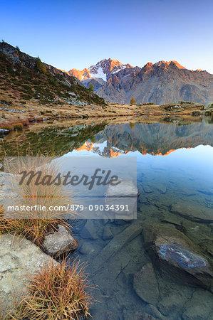 Rocky peaks of Mount Disgrazia reflected in Lake Zana at sunrise Malenco Valley Valtellina Lombardy Italy Europe
