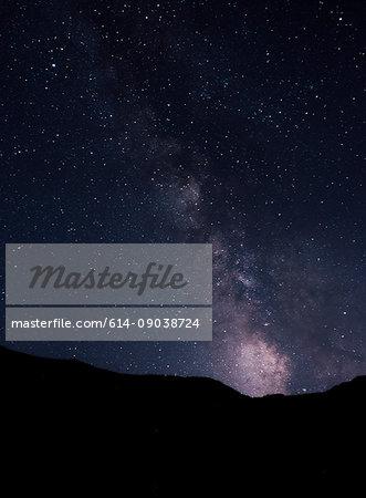 Night view of stars and milky way from Santa Cruz Island, California, USA