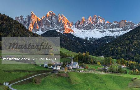 The church of Santa Magdalena, Funes valley, Odle dolomites, South Tyrol region, Trentino Alto Adige, Bolzano province, Italy, Europe