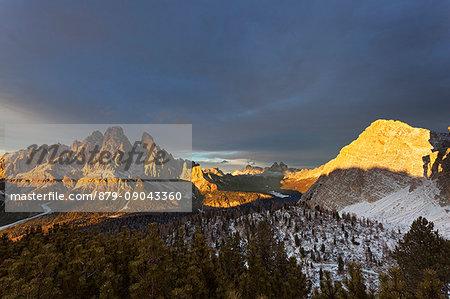 Cristallo group with Misurina and Marcoira Peaks, Dolomites, Auronzo di Cadore, Belluno, Veneto, Italy.