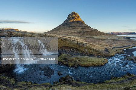 Long exposure landscape with waterfalls and Kirkjufell Mountain, Snaefellsnes peninsula, Western Iceland, Europe.