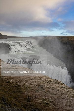 Landscape with Gullfoss waterfall and steam. Hrunamannahreppur, Arnessysla, Sudurland, Iceland, Europe.
