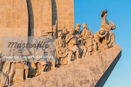 Detials of the Tower of Belém on the bank of the Tagus River Padrão dos Descobrimentos Lisbon Portugal Europe
