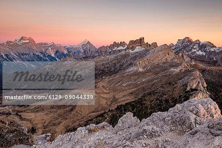Views of mount Sorapis,mount Antelao,Croda da Lago group and mount Pelmo,Cortina d'Ampezzo,Belluno district,Veneto,Italy,Europe