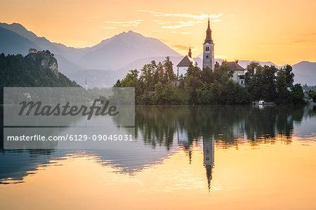 Bled Island and Lake Bled. Bled, Upper Carniolan region, Slovenia.