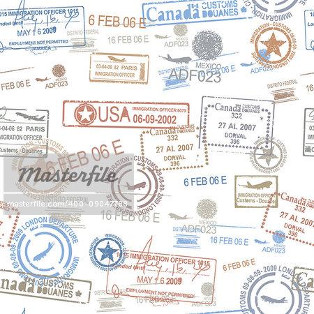 Rubber passport stamps travel symbol illustration