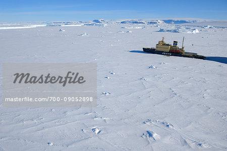 Icebreaker cruise ship, Kapitan Khlebnikov at berth in pack ice at Snow Hill Island in the Weddel Sea at the Antarctic Peninsula, Antarctica
