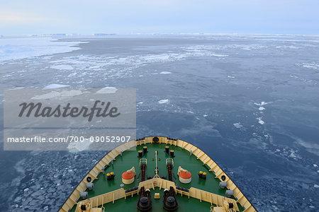 Bow of icebreaker cruise ship, Kapitan Khlebnikov, on the way through the pack ice at Snow Hill Island on the Weddel Sea, Antarctic Peninsula, Antarctica