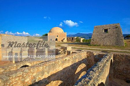 Storerooms and Ottoman Mosque of Sultan Ibrahim Han, Venetian Fortress, Rethymno, Crete, Greek Islands, Greece, Europe