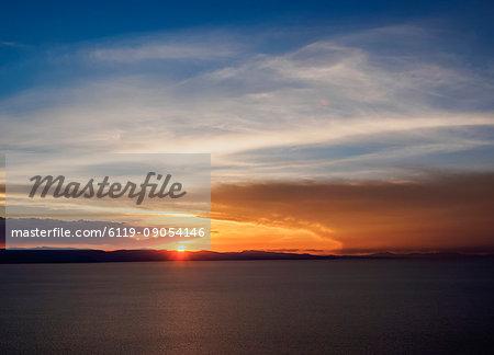 Lake Titicaca seen from the Mount Calvario in Copacabana, sunset, La Paz Department, Bolivia, South America