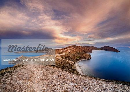 Island of the Sun, elevated view, Titicaca Lake, La Paz Department, Bolivia, South America