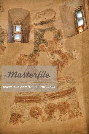 Frescoes, Church of St. Theodore Stratilates, dating from 1360, UNESCO World Heritage Site, Veliky Novgorod, Novgorod Oblast, Russia, Europe