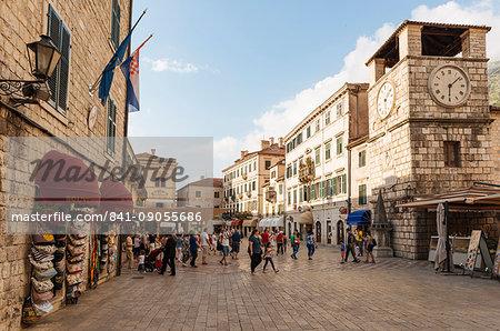 Clock Tower, Stari Grad (Old Town) of Kotor, Bay of Kotor, Montenegro, Europe