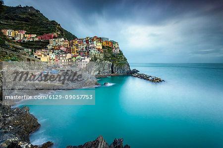 Long exposure of Manarola, Cinque Terre, Riviera di Levante, Liguria, Italy