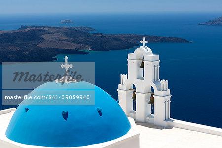 Blue dome and belltower of the church of St. Gerasimos, Firostefani, Fira, Santorini, Cyclades, Greek Islands, Greece, Europe