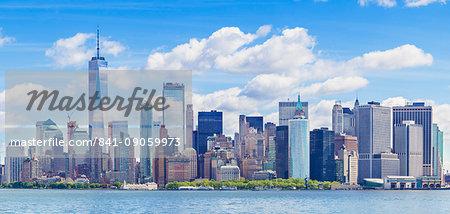 Lower Manhattan skyline, panorama, New York skyline, One World Trade Center tower, Hudson River, New York, United States of America, North America
