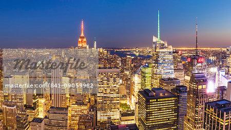 Manhattan skyline, New York skyline, Empire State Building, panorama, at night, New York City, United States of America, North America