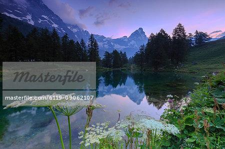 Sunrise from famous Blue Lake (Il Lago Blu), Cervinia, Valtournanche, Aosta Valley, Italy, Europe