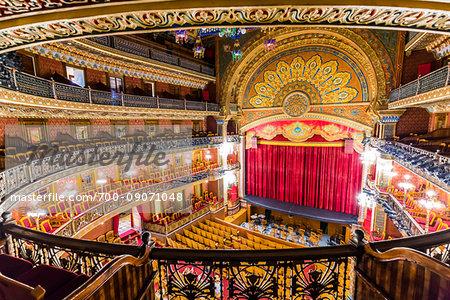 Elevated view of the interior of the Juarez Theater (Teatro Juarez), Guanajuato City, Mexico